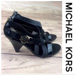 💕SALE💕Michael Kors Black Strappy ZIP Up Heels